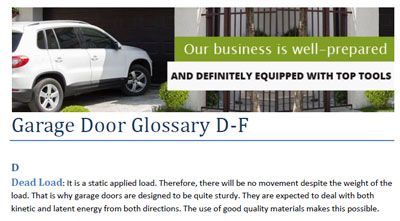 Glossary - Garage Door Repair Tiburon